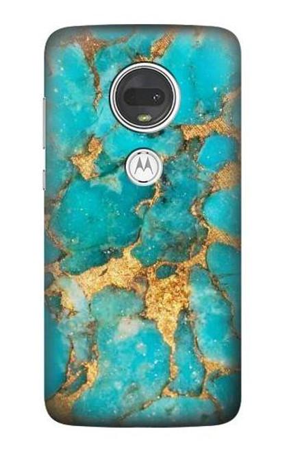 S2906 Aqua Turquoise Stone Case For Motorola Moto G7, Moto G7 Plus