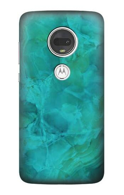 S3147 Aqua Marble Stone Case For Motorola Moto G7, Moto G7 Plus