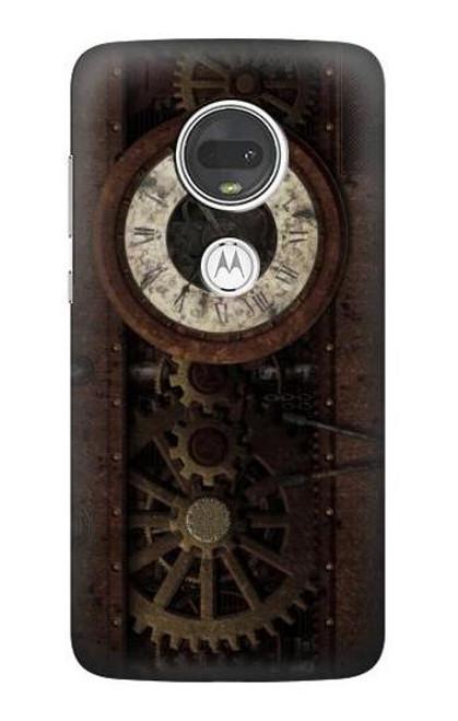 S3221 Steampunk Clock Gears Case For Motorola Moto G7, Moto G7 Plus