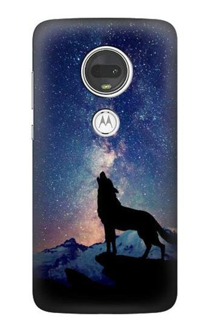 S3555 Wolf Howling Million Star Case For Motorola Moto G7, Moto G7 Plus