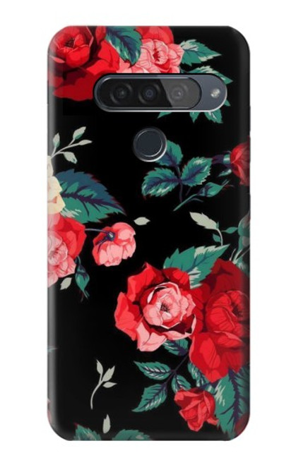 S3112 Rose Floral Pattern Black Case For LG G8S ThinQ