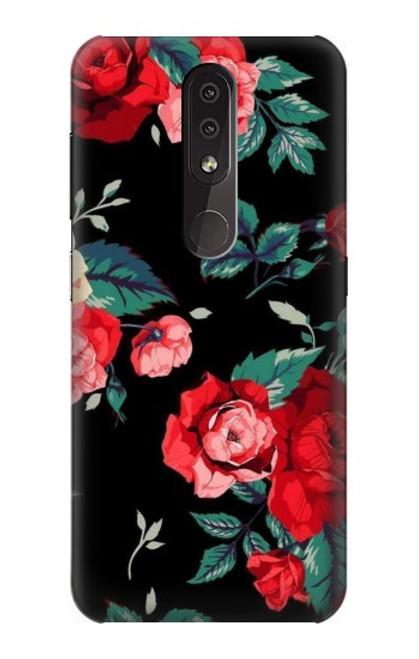 S3112 Rose Floral Pattern Black Case For Nokia 4.2