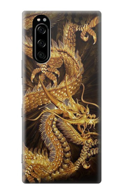S2804 Chinese Gold Dragon Printed Case For Sony Xperia 5