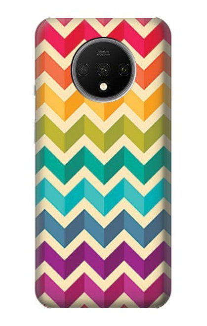 S2362 Rainbow Colorful Shavron Zig Zag Pattern Case For OnePlus 7T