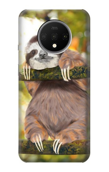 S3138 Cute Baby Sloth Paint Case For OnePlus 7T