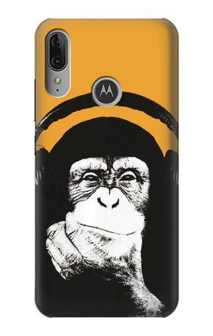 S2324 Funny Monkey with Headphone Pop Music Case For Motorola Moto E6 Plus, Moto E6s