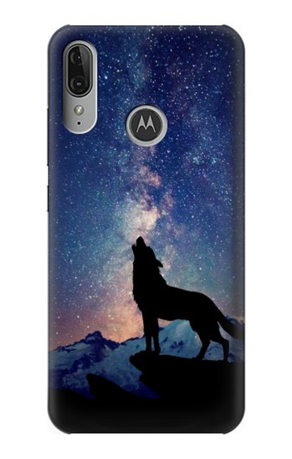 S3555 Wolf Howling Million Star Case For Motorola Moto E6 Plus, Moto E6s