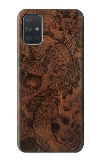 S3405 Fish Tattoo Leather Graphic Print Case For Samsung Galaxy A71