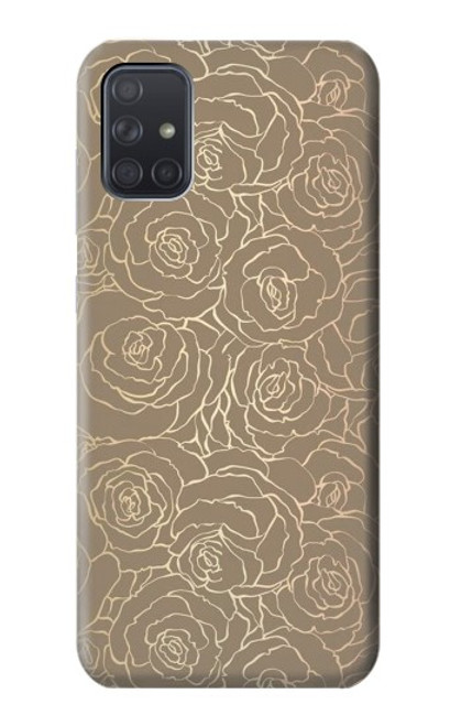 S3466 Gold Rose Pattern Case For Samsung Galaxy A71