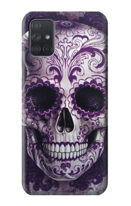 S3582 Purple Sugar Skull Case For Samsung Galaxy A71