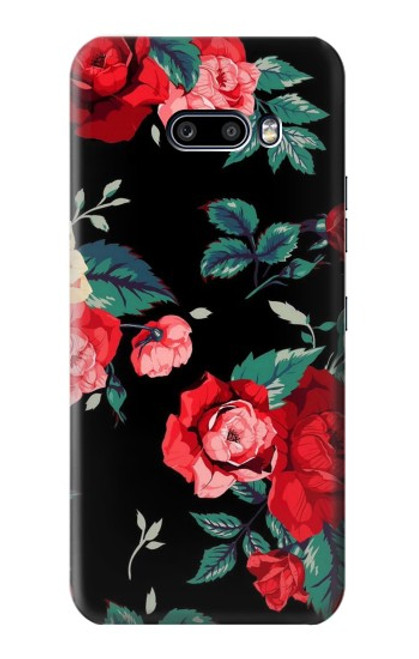 S3112 Rose Floral Pattern Black Case For LG G8X ThinQ