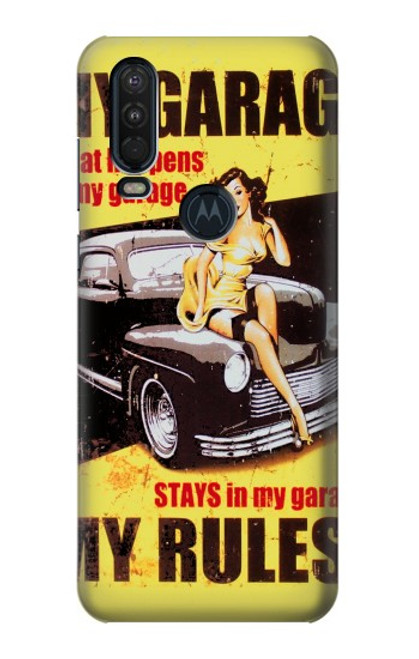 S3198 My Garage Pinup Girl Case For Motorola One Action (Moto P40 Power)