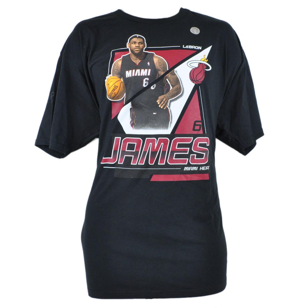 purchase cheap 5a10b ef400 NBA Adidas Miami Heat Lebron James 6 XXLarge 2XL Tshirt Tee Basketball Black