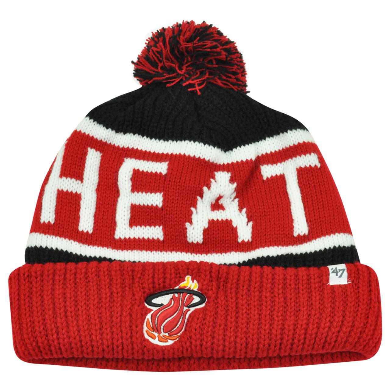 3b5983e3 NBA '47 Brand HWC Miami Heat Calgary Red Cuffed Pom Beanie Knit Toque  Skully Hat - Sinbad Sports Store