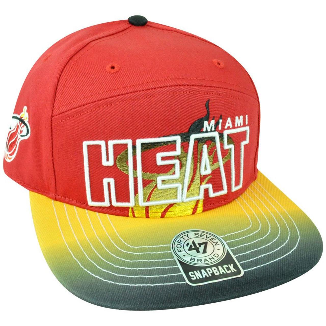 NBA  47 Brand HWC Miami Heat Logo Glowdown 5 Panel Snapback Flat Bill Hat  Cap 4a311a729