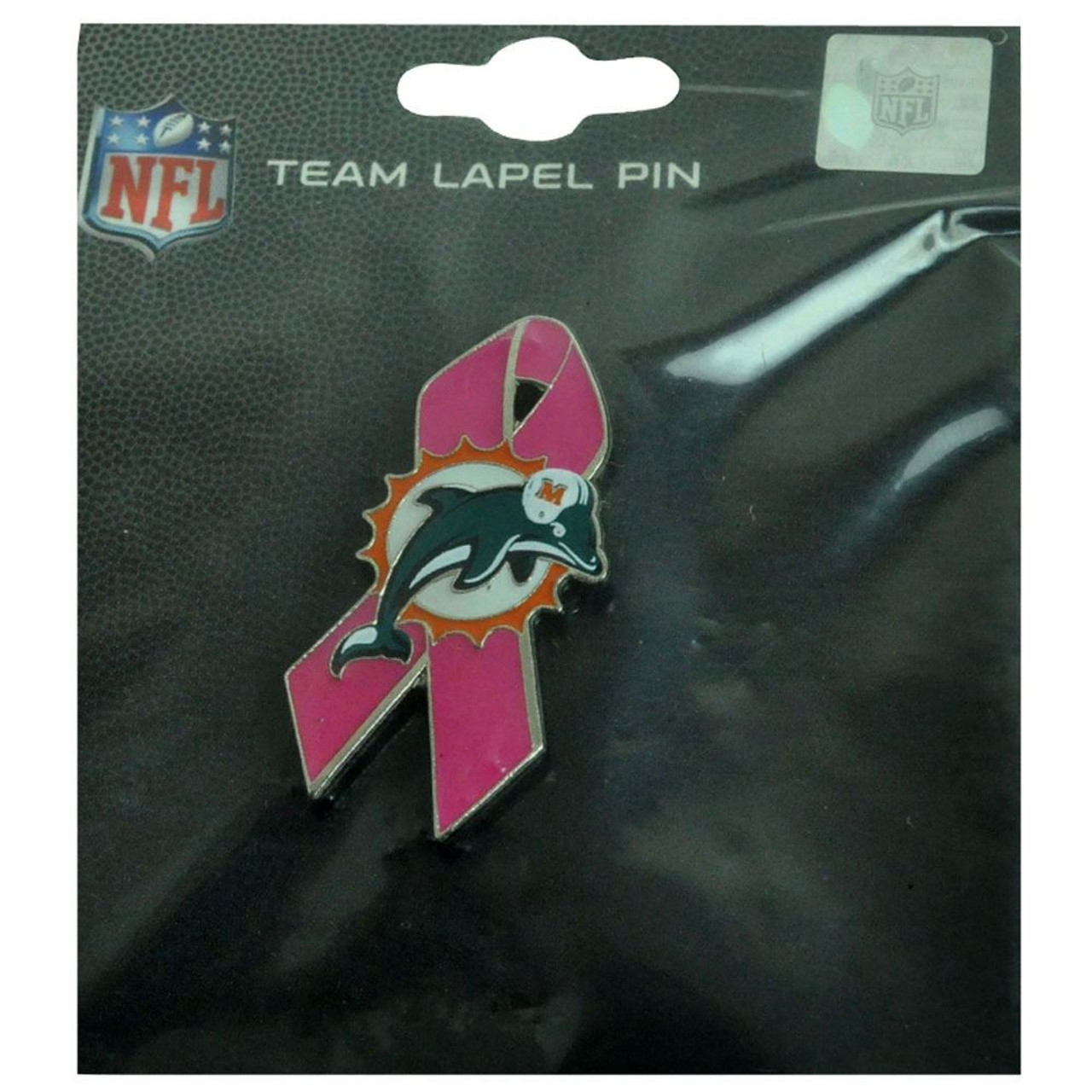 best loved 56273 62cf7 NFL Miami Dolphins BCA Breast Cancer Awareness Fins Lapel Pin Pink Ribbon  DN4072