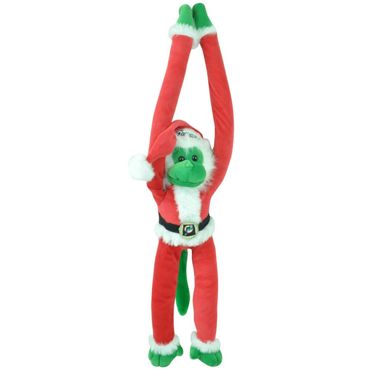 Nfl Miami Dolphins Fins Plush Santa Stuffed Monkey Christmas