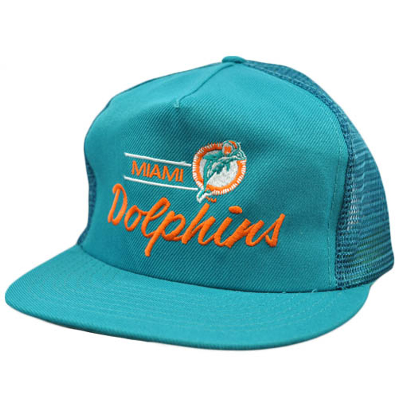 776392bc NFL Miami Dolphins Vintage Mesh Flat Bill Teal Orange Annco Snapback Hat Cap