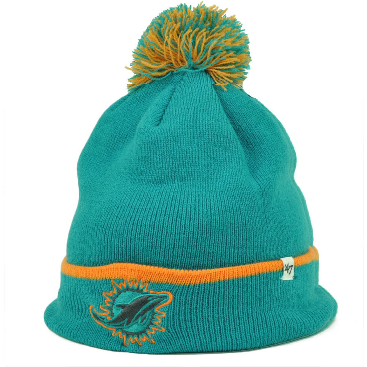 bad1714be8e Miami Dolphins  47 Brand Forty Seven Cuffed Pom Pom Knit Beanie Baraka  Turquoise - Sinbad Sports Store