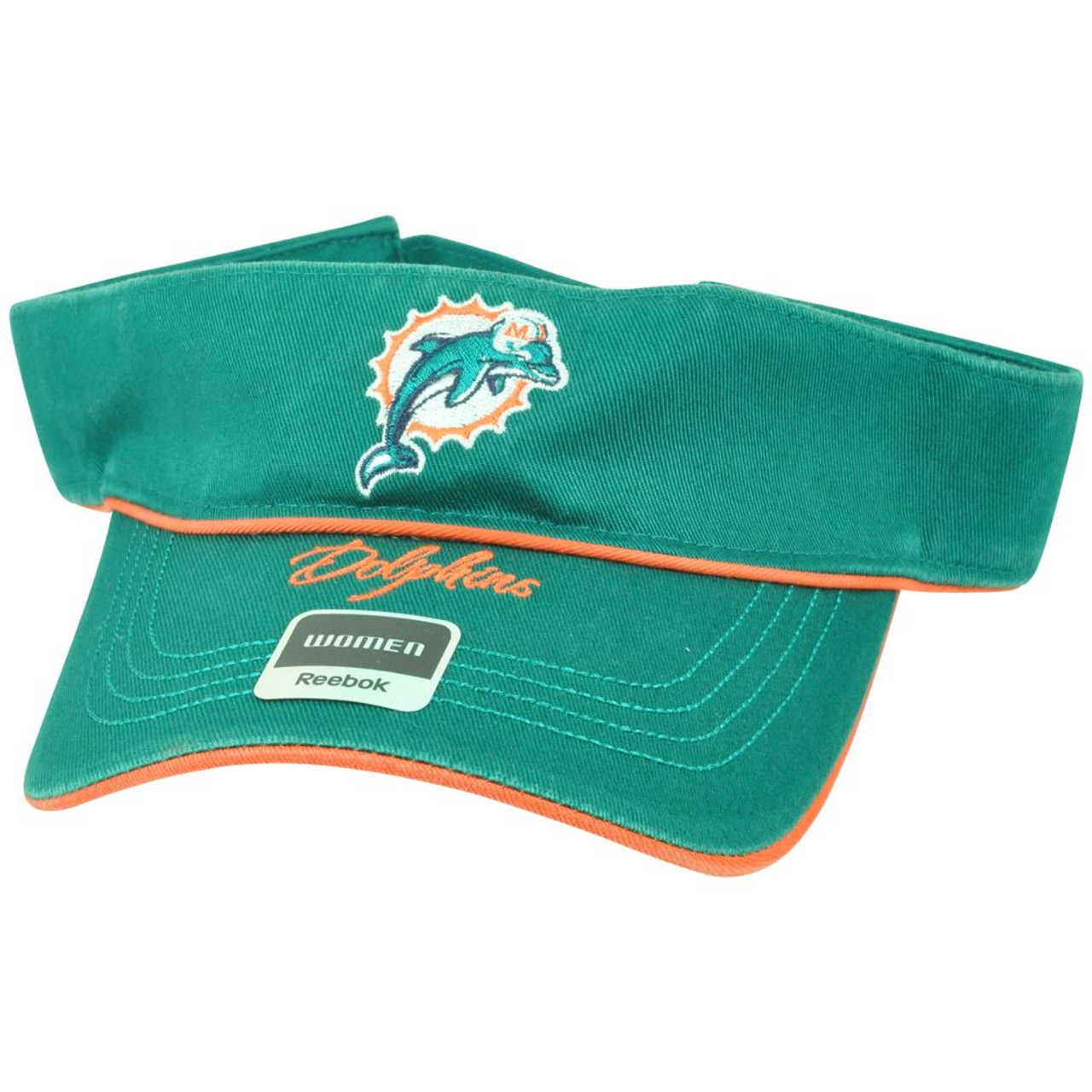 68e007f2 NFL Miami Dolphins Reebok Women Adjustable Velcro Script Green Visor Hat  DV1021