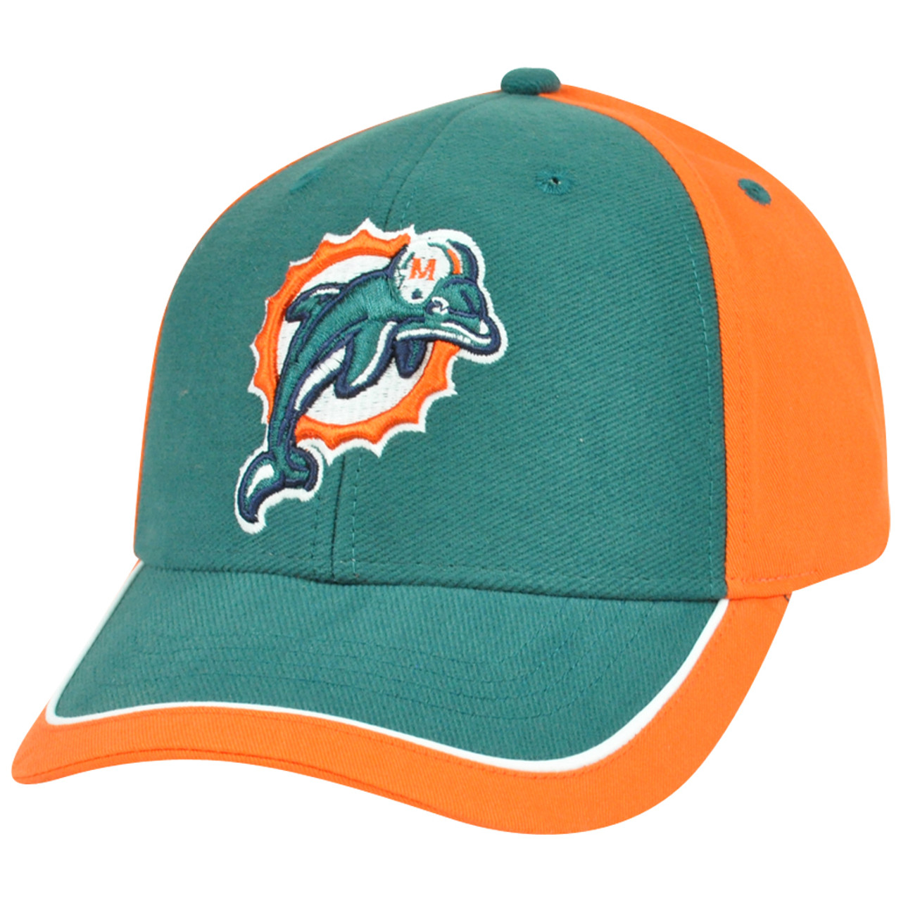 NFL Adjustable Velcro Curved Bill X2507 Construct Miami Dolphins Hat Cap 2  Tone 1a64c1f21
