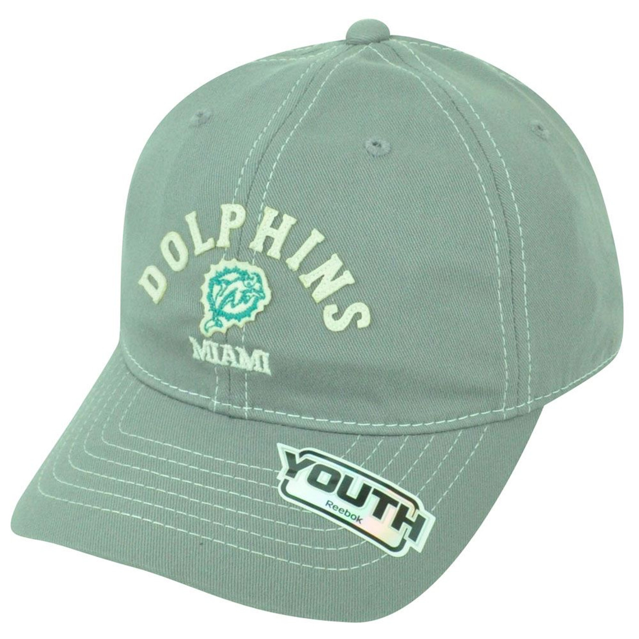 NFL Miami Dolphins Reebok Youth Adjustable Authentic Gray Cap Hat DH1460 c86fe9e16
