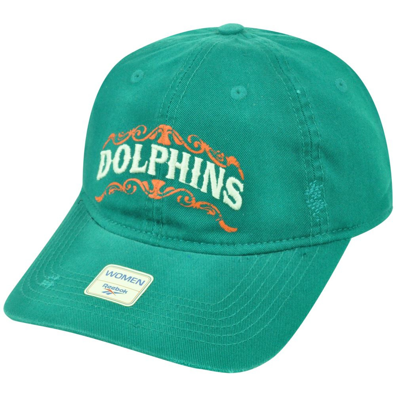 2293c539f50 NFL Miami Dolphins Reebok Football Women s Distressed Clip Buckle Cap Hat  DH1680 - Sinbad Sports Store