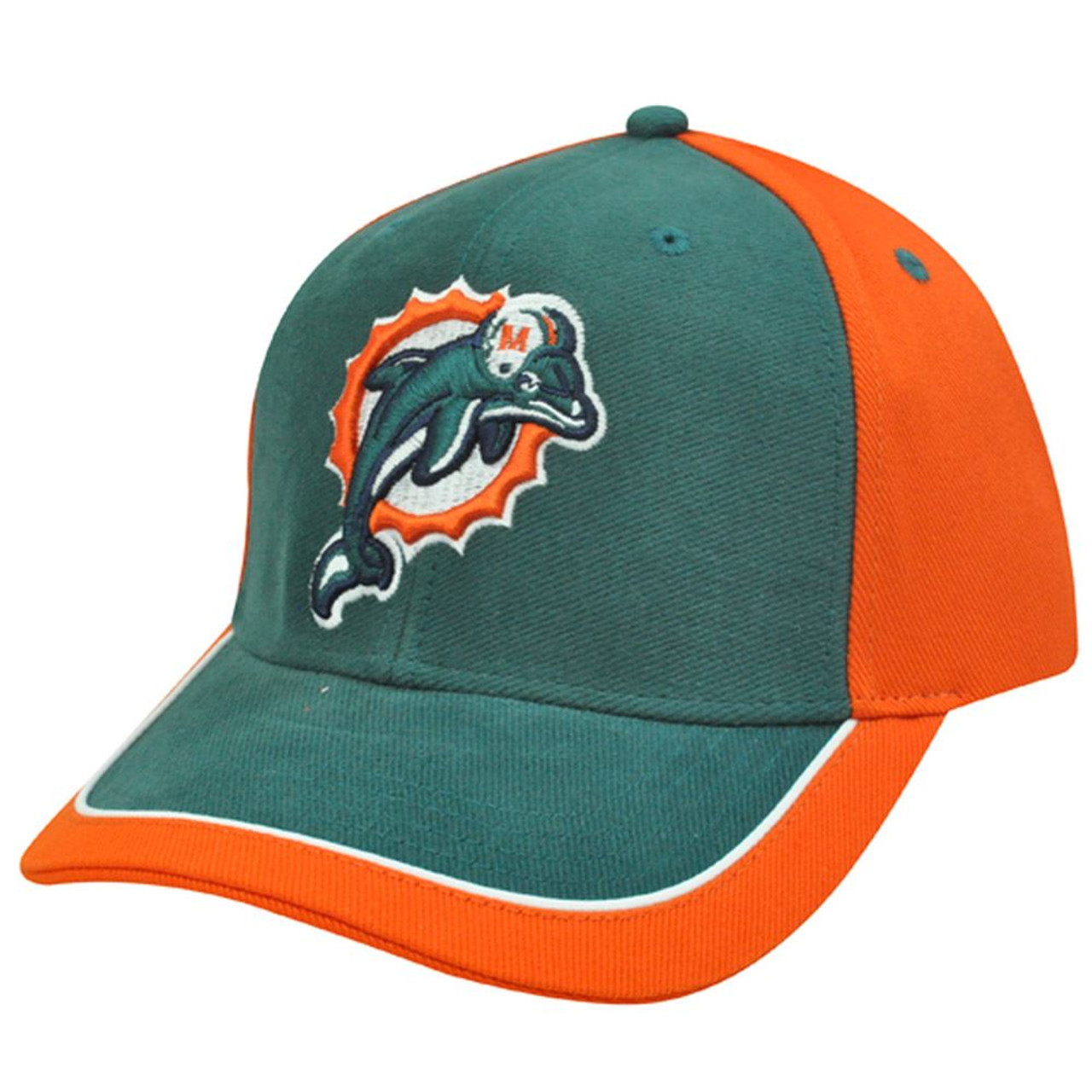 NFL Miami Dolphins Aqua Orange White Hat Cap Constructed Licensed Cotton  Velcro - Sinbad Sports Store 8177d164e