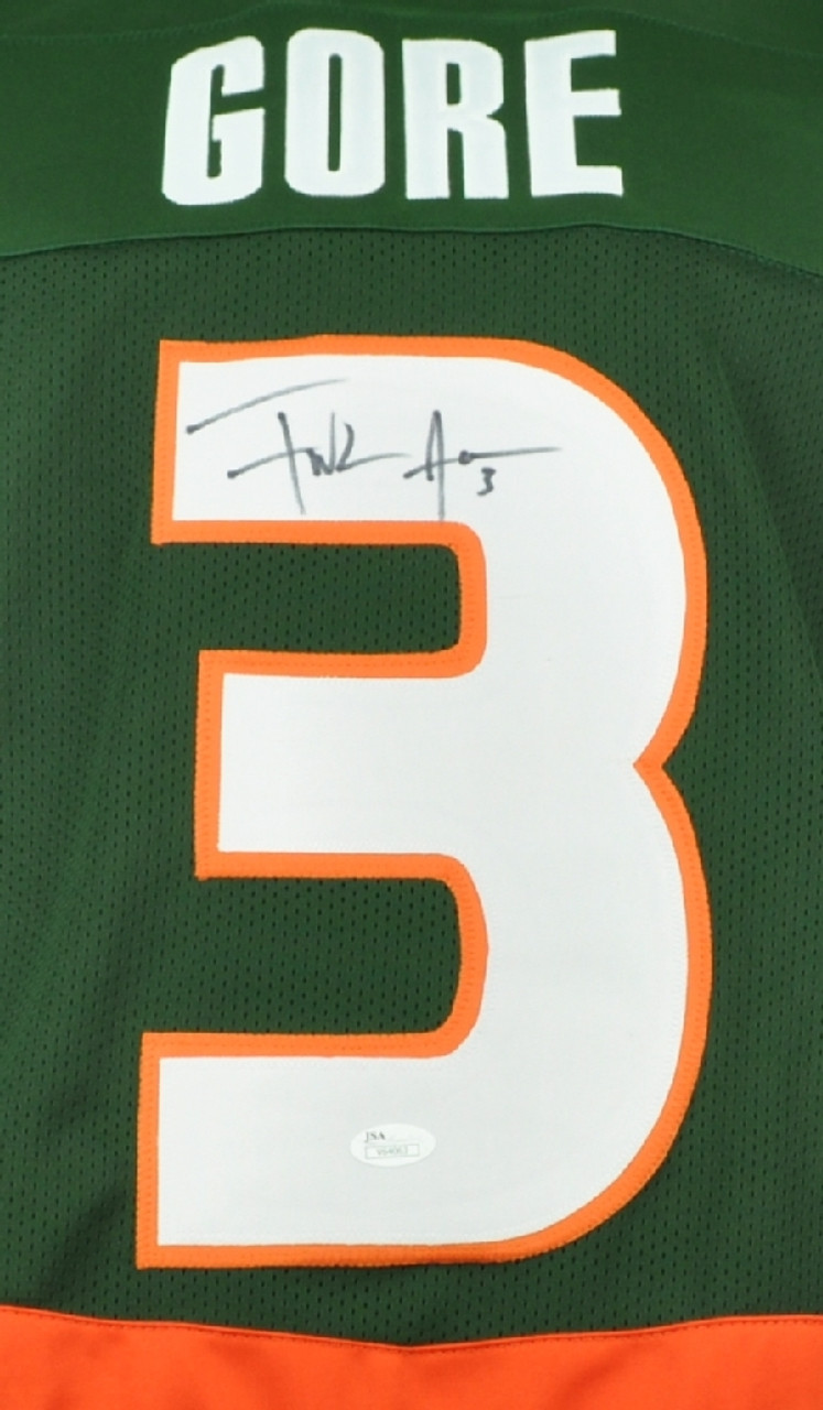reputable site 4e48f 6ca9a NCAA Miami Hurricanes Running Back Frank Gore 3 Signed Autographed XL Green  Replica Jersey JSA Mens