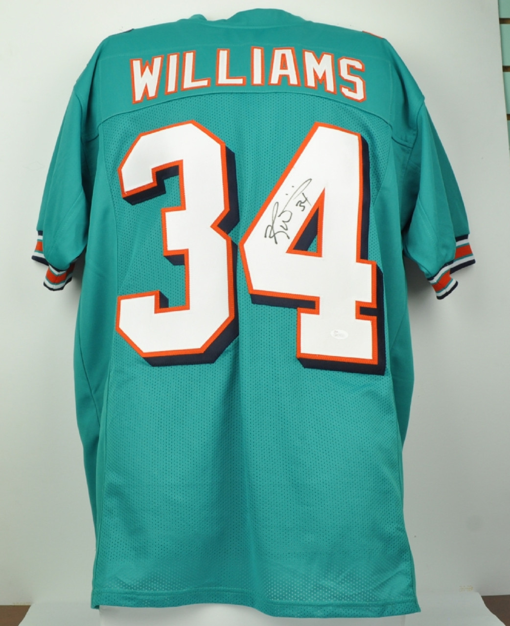 sale retailer b3214 59b80 NFL Miami Dolphins Running Back Ricky Williams 34 Signed Autographed XL  Teal Throwback Replica Jersey JSA Mens
