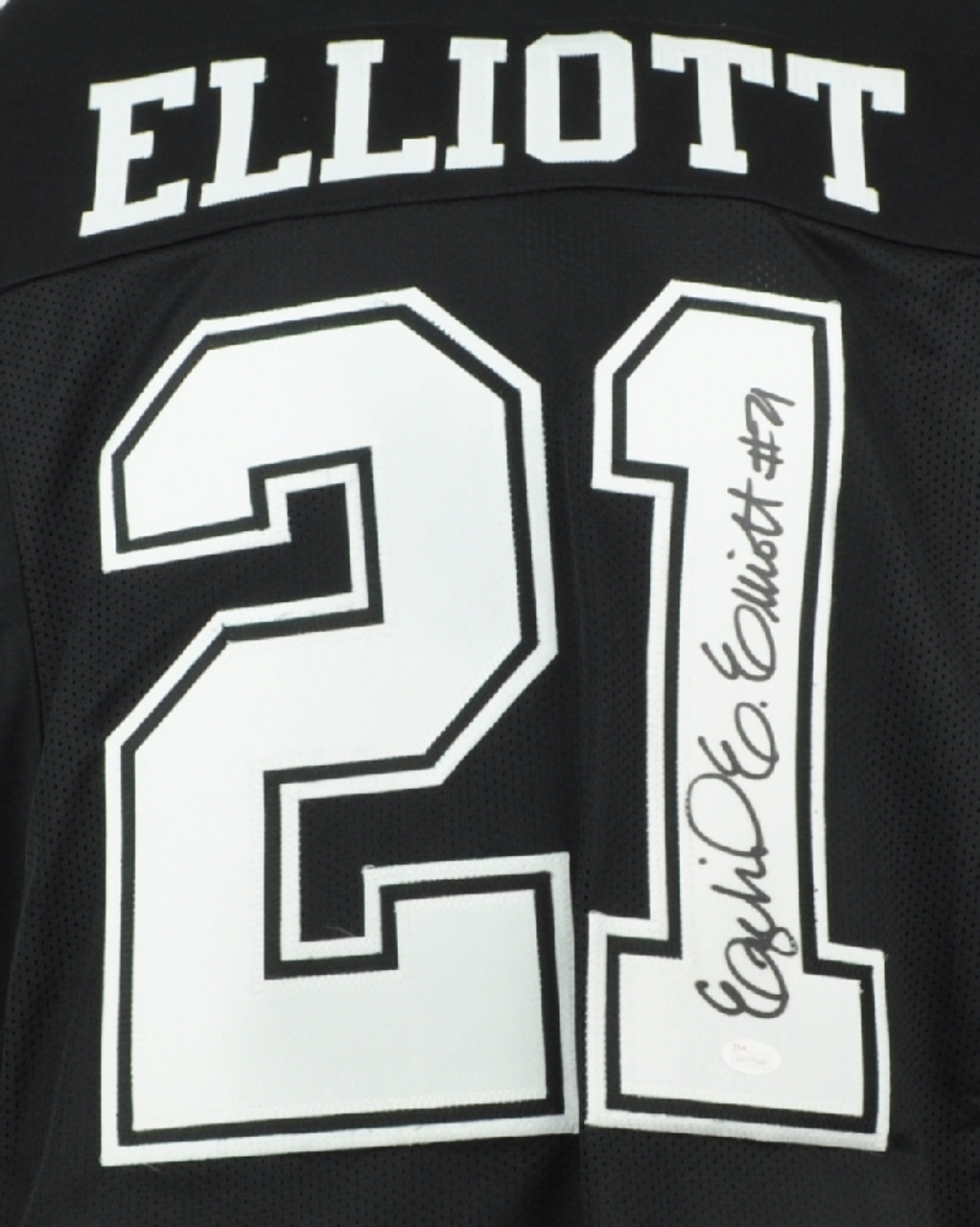 online retailer e2220 08fb3 NFL Dallas Cowboys Running Back Ezekiel Elliott 21 Signed Autographed XL  Black Replica Jersey JSA Mens