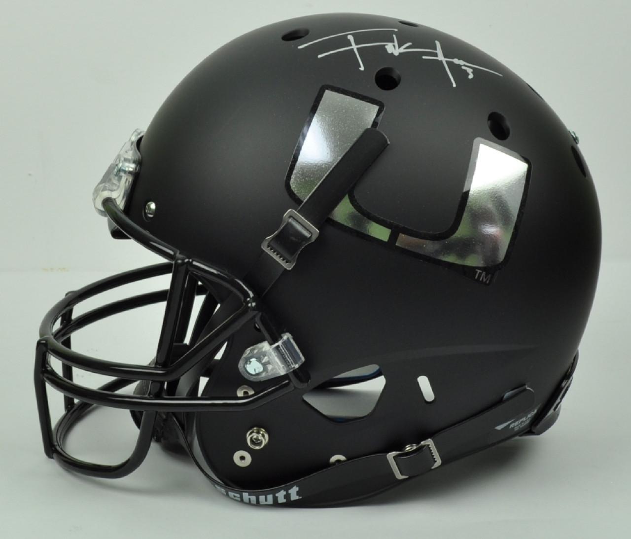 NCAA Miami Hurricanes Running Back Frank Gore 3 Signed Autographed Schutt Full  Size Chrome Black Replica ef2678e53