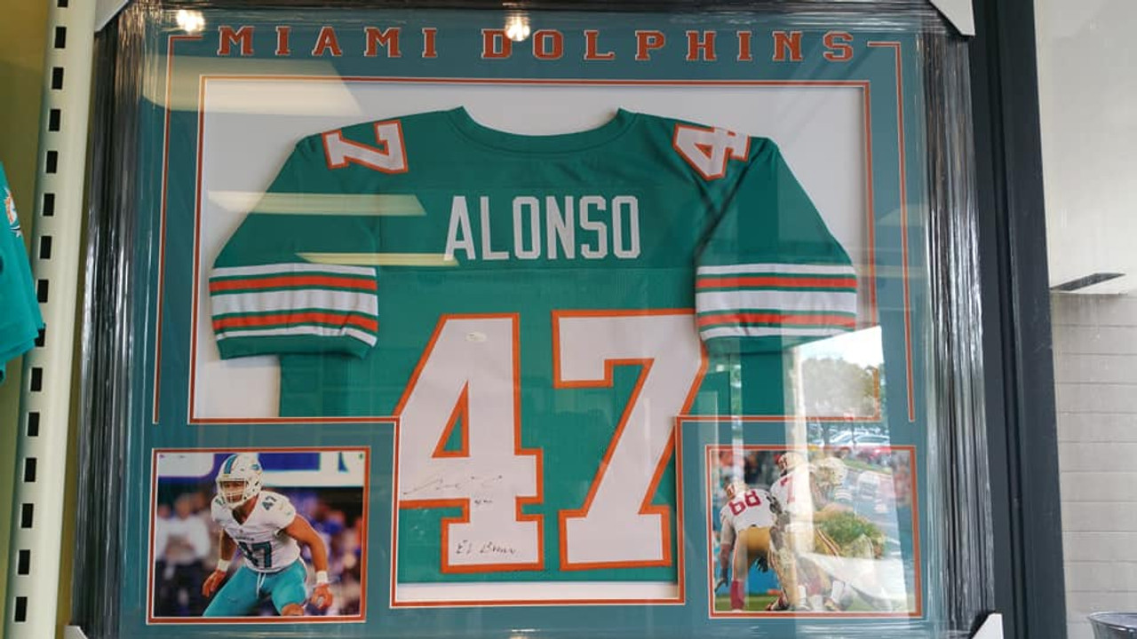 size 40 8a917 c85e8 NFL Miami Dolphins Linebacker Kiko Alonso 47 Signed Autographed Inscription  36x44 Framed Teal Replica Jersey JSA
