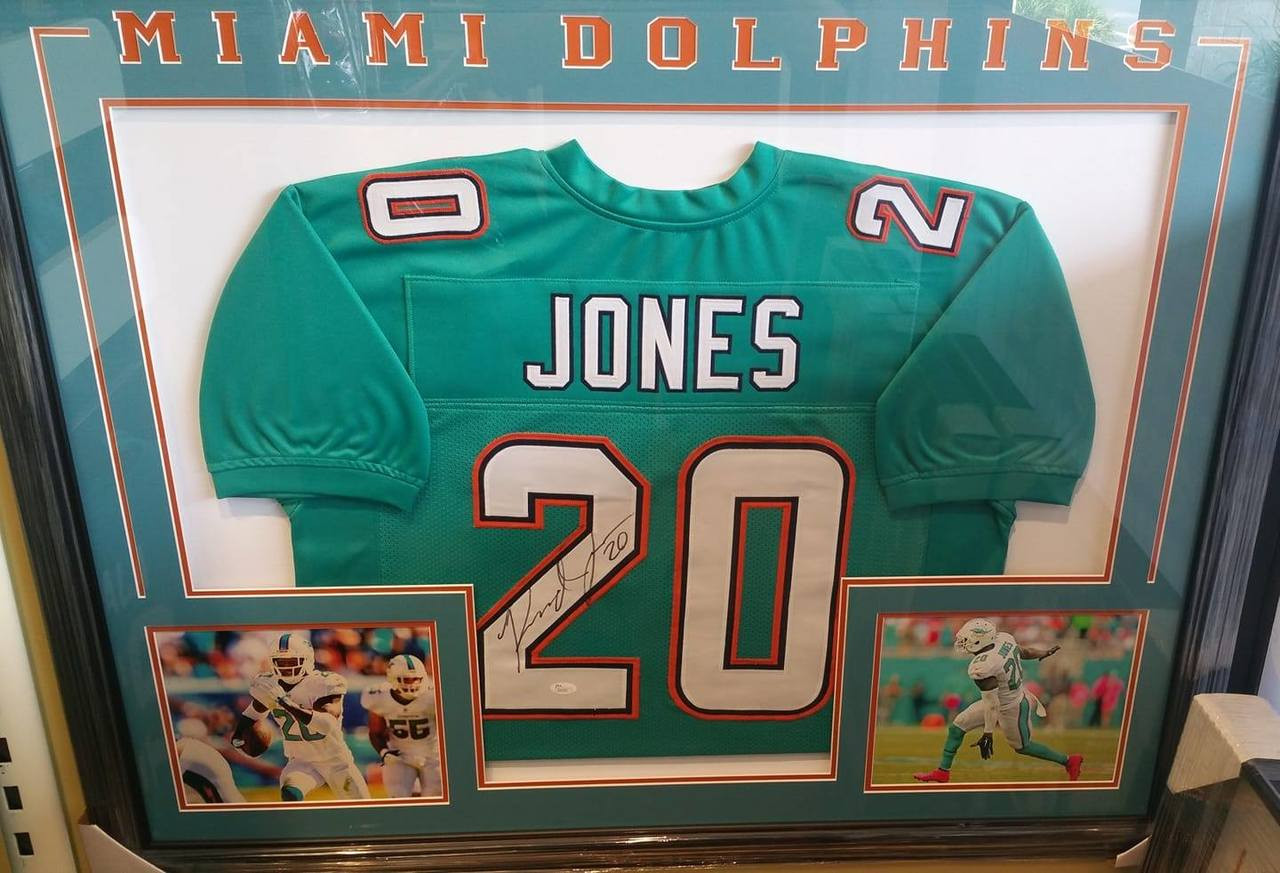 NFL Miami Dolphins Safety Reshad Jones 20 Signed Autographed 36x44 Framed Teal Replica Jersey JSA