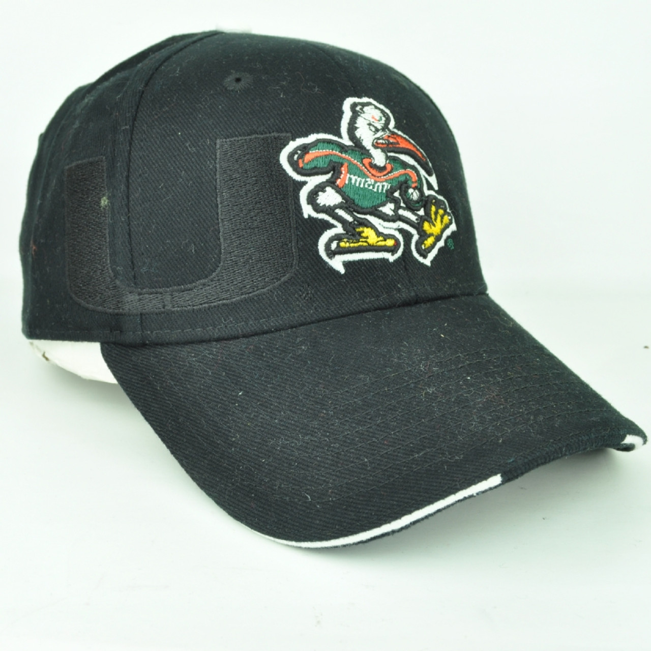 best service 386dd c9a6e ... italy ncaa miami hurricanes black white adjustable hat cap curved bill  100 cotton 34f77 adb04