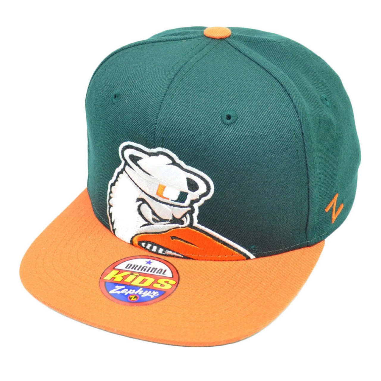 9b095c4d59f5 NCAA Zephyr Miami Hurricanes Canes Peek Snapback Flat Bill Hat Cap Green  Kids