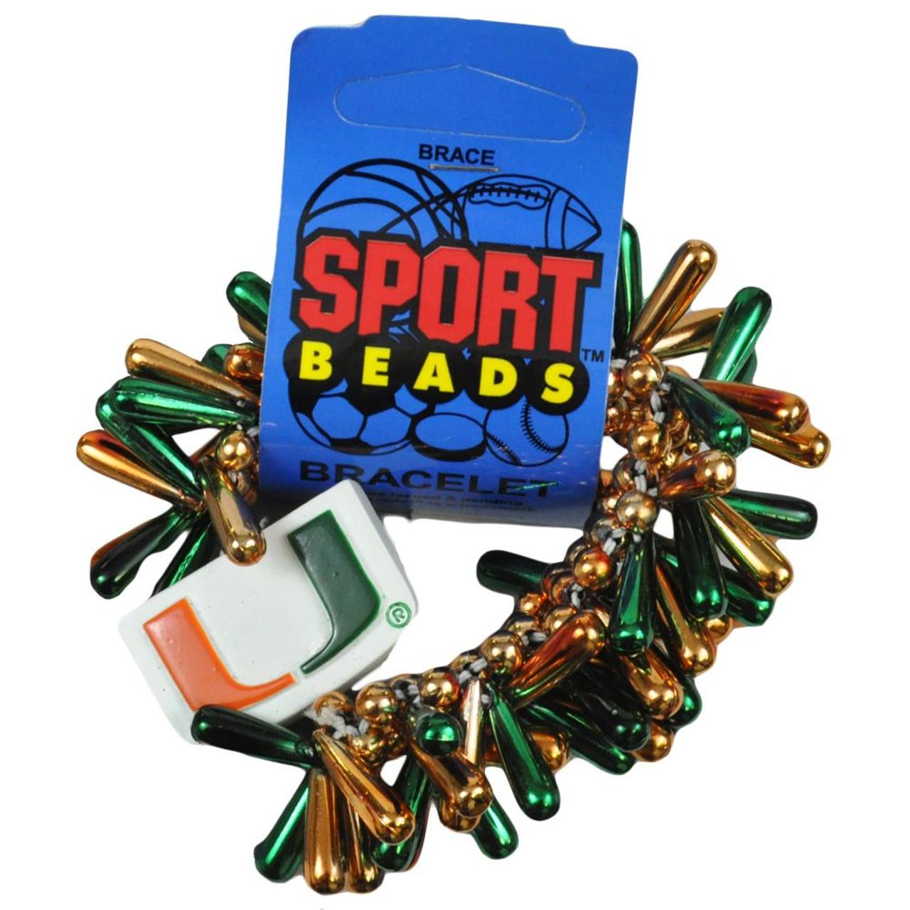 more photos 17c56 3f440 NCAA UM Miami Hurricanes Football Jewelry Stretchy Elastic Beaded Bracelet  Band
