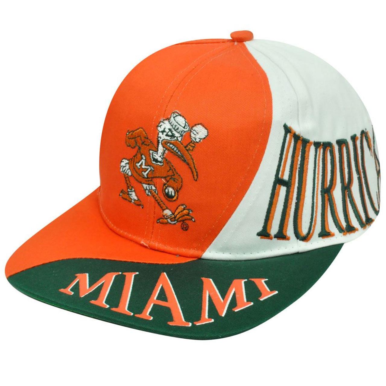 8fb3b85f9070 NCAA Miami Hurricanes Vintage Old School Snapback Wave Hat Cap Orange Green