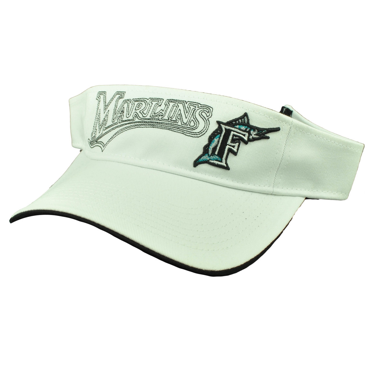 more photos 211df 88240 Florida Miami Marlins White Visor Sun Hat Baseball Old Logo Vintage  Adjustable
