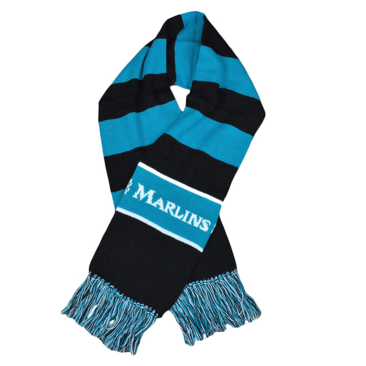 best service 65119 f85ff MLB Florida Miami Marlins Striped Knitted Team Scarf Winter Acrylic Gear  Black