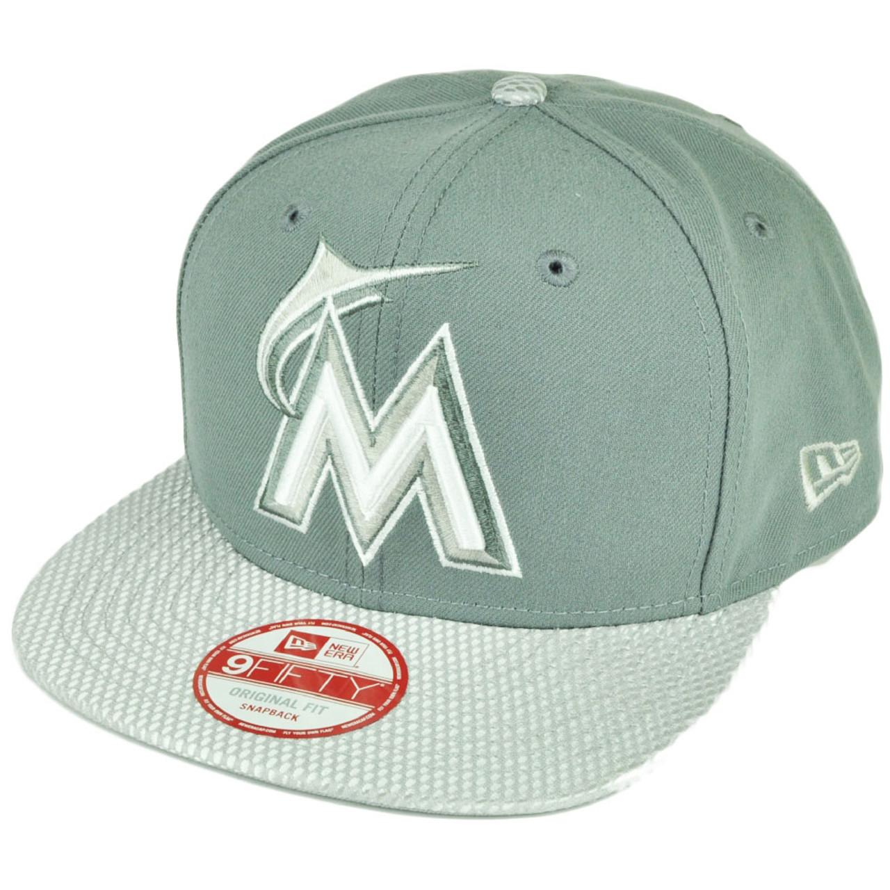 watch 5c57e abe5d MLB New Era 9Fifty Flash Vize Miami Marlins Snapback Hat Cap Flat Bill Gray  - Sinbad Sports Store