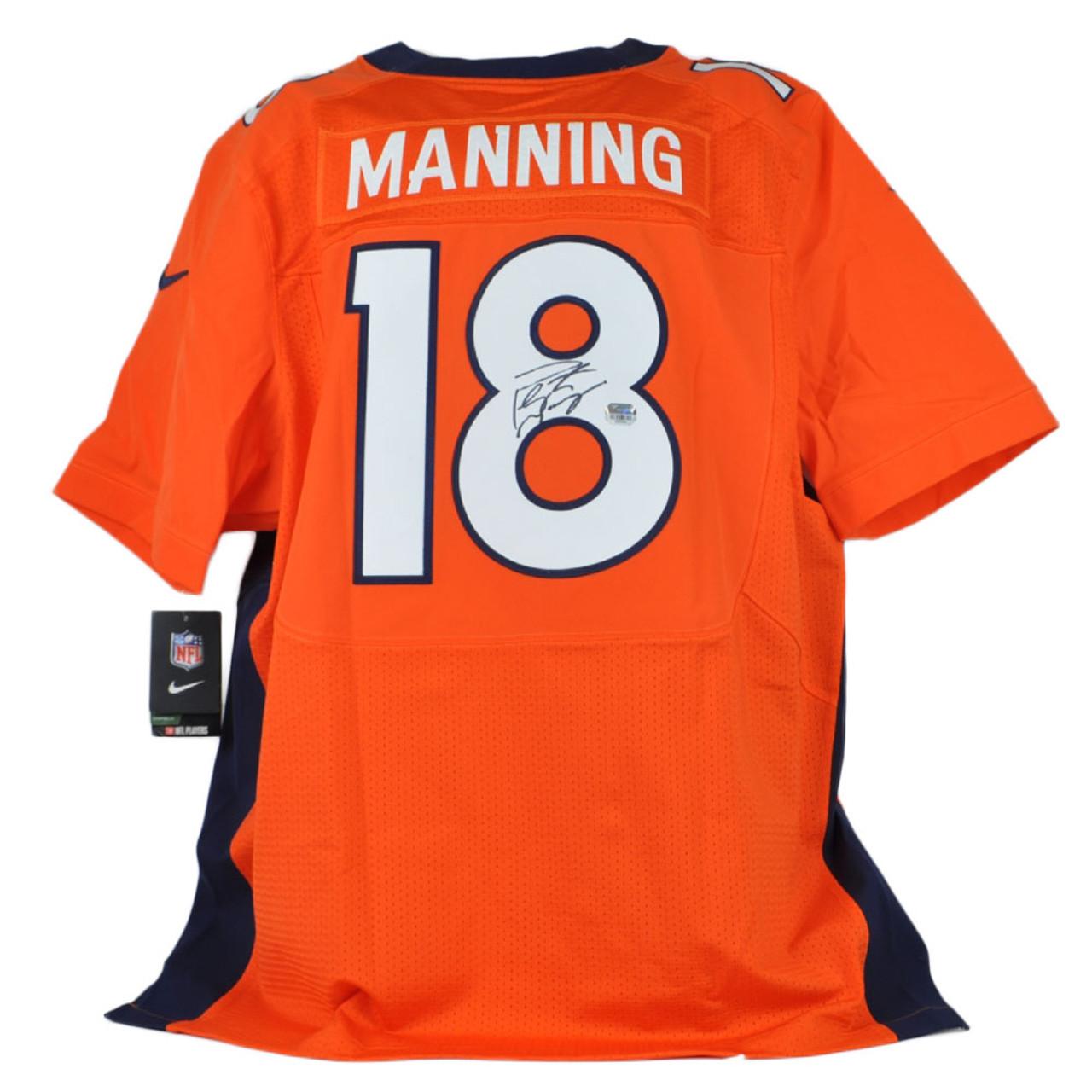 NFL Denver Broncos Peyton Manning #18 Signed XL Orange Jersey Autograph Nike
