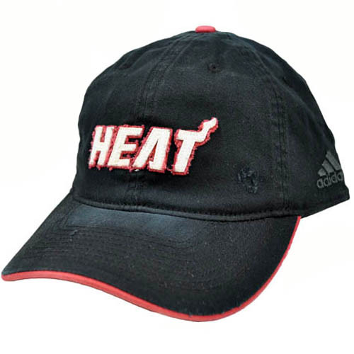 cbe106ec NBA Adidas Miami Heat Black White Red Small Medium Flex Fit Relaxed Fit Hat  Cap ...