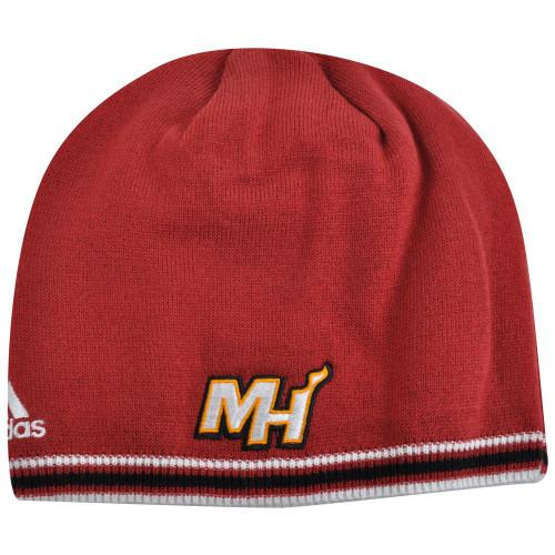 NBA Miami Heat Adidas Cuffless KF12Z Knit Beanie Toque Skully Skull Red Hat  ... 2b247aa3f307