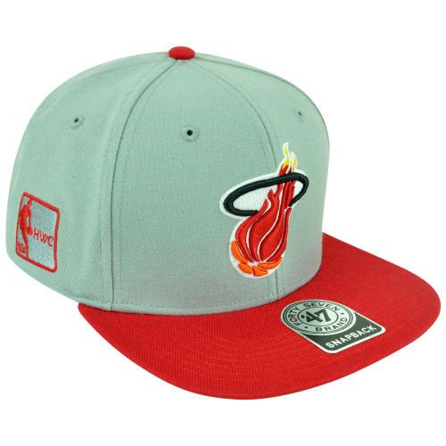 NBA Miami Heat HWC  47 Brand Big Shot Logo Flat Bill Snapback Grey Red Hat  Cap 51ff546ce