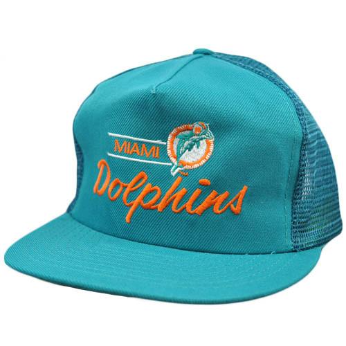 NFL Miami Dolphins Vintage Mesh Flat Bill Teal Orange Annco Snapback Hat Cap 42bf0765f