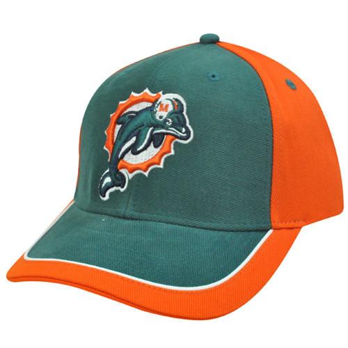 NFL Miami Dolphins Aqua Orange White Hat Cap Constructed Licensed Cotton  Velcro 58c130578