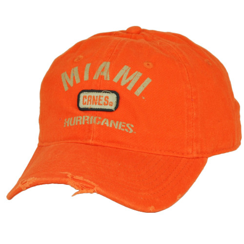 NCAA Miami Hurricanes Canes Distressed Ripped Orange Hat Cap Adjustable  Relaxed 70a57ab21bdb