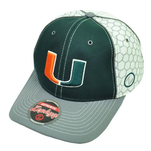 NCAA Zephyr Miami Hurricanes Hornet Hat Cap Green Canes UM Adjustable 551b620be