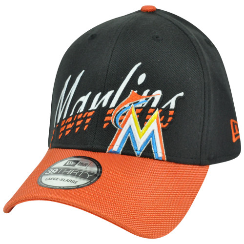 MLB Miami Marlins New Era 3930 39Thirty Double Edge Stretch Flex Fit S M Hat  Cap 1555cd9b9f09